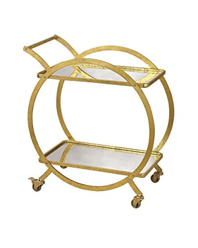 Artistic Upscale Luxe Ring Bar Cart, Gold/Antique Mirror