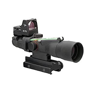 ACOG TA33G-H-RMR Trijicon 3x30 Scope with Dual Illuminated Green Horseshoe/Dot .223 Ballistic Reticle, 3.25 MOA RMR Sight and TA60 Mount