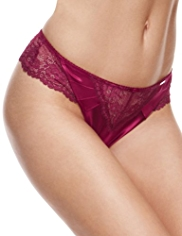 Rosie for Autograph Silk Thong with French Designed Rose Lace
