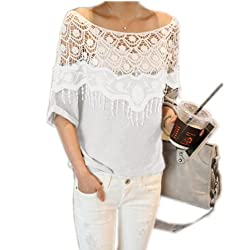 Sexy Womens Hollow Crochet Lace Floral Poncho Shoulder Blouse Short Batwing Sleeve T Shirt Top 3 COLORS UK 8-20