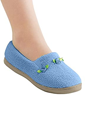 Rosette Slippers, Color Blue, Size 06 M