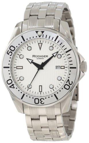 Rudiger Men's R2000-04-001.1 Chemnitz Steel Rotating Bezel Silver Luminous Dial Watch
