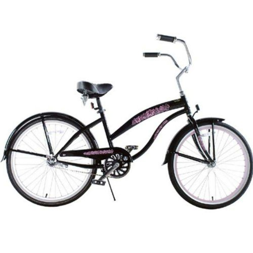 Kids bike girls black pink extended frame beach cruiser 24 inch