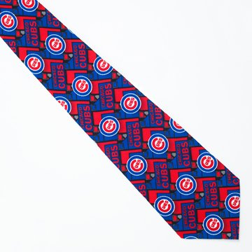 Chicago Cubs Block Pattern Silk Neck Tie