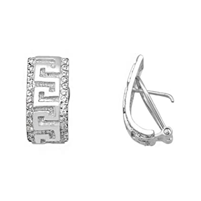 18K white gold earrings with cubic zirconia grecas