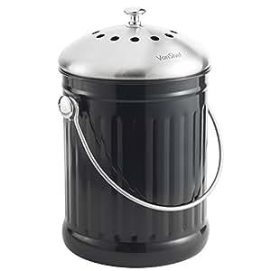 VonShef: Composteur en acier inoxydable (18.2cm (DIA) x 28.5cm (H)) avec poignée et filtre absorbant les odeurs