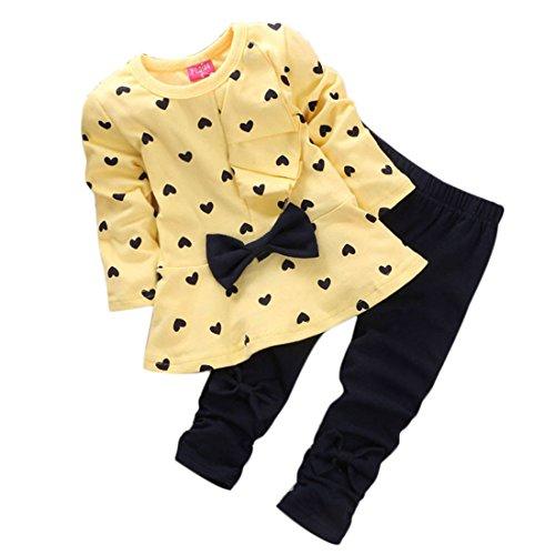 Per 0-2 anni,Amlaiworld Bambino ragazza carina Bow t-shirt + pantaloni (Giallo, 6-12Mesi)