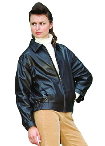 LADIES LEATHER BOMBER JACKET MADE IN USA (XL, Brown)