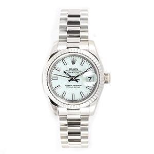 Rolex Ladys President New Style Heavy Band 18k White Gold Model 179179 Fluted Bezel White Stick Dial