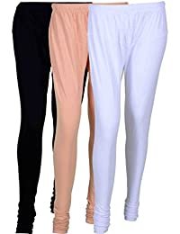 Fashion And Freedom Women's Cotton Leggings Pack Of 3_FFCL_BCW_BLACK-CREAM-WHITE_FREESIZE