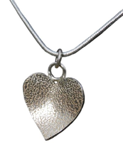 Handmade 925 Sterling Silver Textured Heart Pendant / Necklace - FREE Delivery in UK Gift Wrapped
