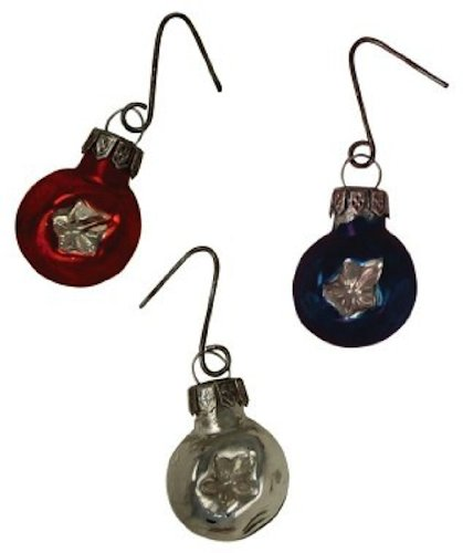 Bethany Lowe Americana Miniature Glass Ball With Star Design Red White Blue Ornament Set of 9