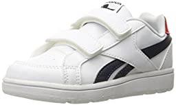 Reebok Royal Prime ALT Classic Shoe (Infant/Toddler), White/Navy/Motor Red, 2 M US Infant