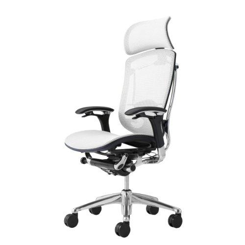 オカムラ オフィスチェア コンテッサ 可動肘 ヘッドレストタイプ 座:メッシュ ホワイト CM91AB-FGH3