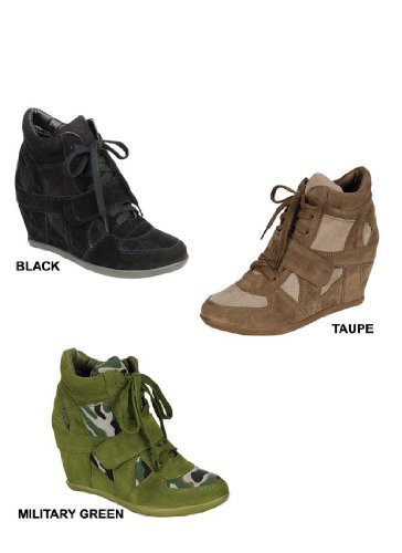 Breckelle's METRO-01W Women's Round Toe Lace Up Wedge Sneakers, Color:MILITARY GREEN, Size:7.5