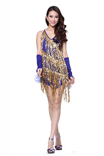 Feimei Women's Sequined Tassels Latin Dance Dress 3pcs/set(skirt+2pcs gloves) Dark Blue