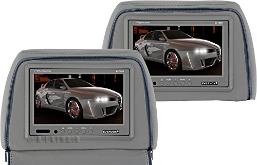 "Evervox Ev-7599H Gray 7"" Dual Headrest Monitors With Zippered Pillow"