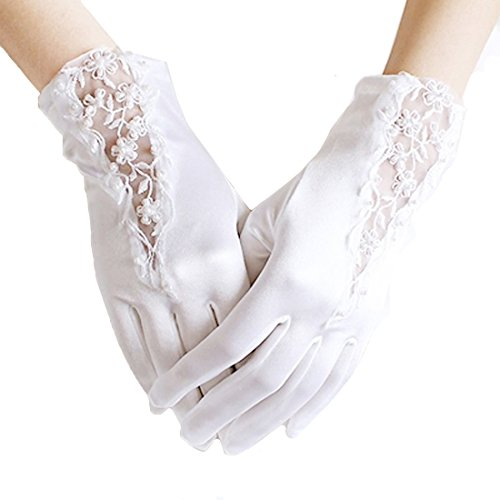 Linabridal Women's Vintage Lace And Satin Wrist Length Bridal Wedding Gloves YT027WT-Ivory