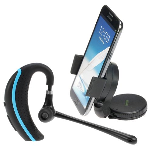 Ikross Wireless Bluetooth Handsfree Headset With Boom Microphone + Car Dashboard Windshield Mount Holder For Apple Iphone Blackberry Htc Lg Motorola Nokia Samsung Cellphone Smartphone And More - Black/ Blue