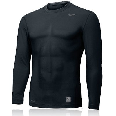 Nike Pro Core Combat L/S Crew Top (X-Large, Black)