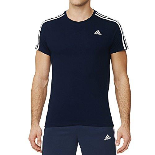 Adidas Ess 3S TEE Maglietta Sportiva per Uomo, Maniche Corte, Colore Navy/Bianco (Collegiate Navy/White), Taglia M