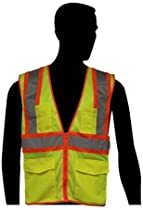 "Liberty HiVizGard Polyester All Mesh Class 2 Safety Vest with 2"" Wide Silver Reflective Stripes and Multiple Pockets, 2X-Large, Fluorescent Lime Green"