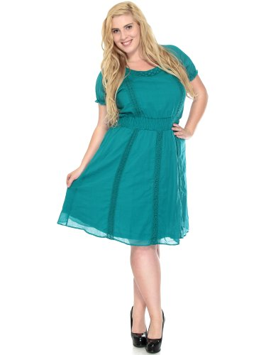 Simplicity plus Size Dress w/ Embroidered Detail, Mid Length, Stretch