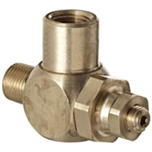 "Parker 032510125 3251 Series Brass Right Angle Flow Control Valves, 1/8"" NPT Male x Female, 125 psi"