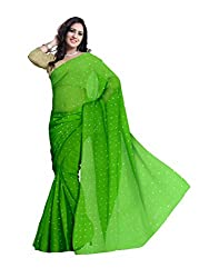 GiftPiper Pure Chiffon Aari Work Saree- Green
