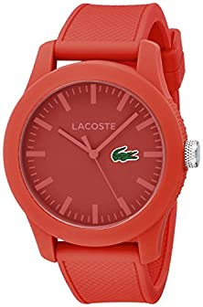 buy Lacoste Men'S 2010764 Lacoste.12.12 Red Watch With Textured Band