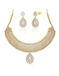 "Peora 18 Karat Gold Plated Cubic Zirconia ""Charisma"" Necklace Earrings Set (PN406GJ)"
