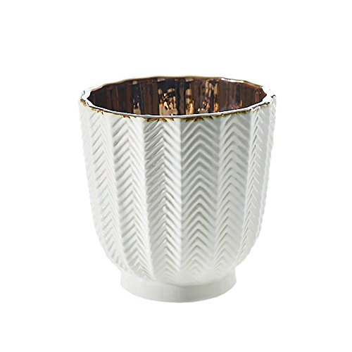 White Ceramic Vase, Herringbone Ribbed Pattern Geometric, 5.25 Inch, Bud Vase, Candle Holder, Metallic Interior, Centerpiece, (White & Bronze), (4 Pack)