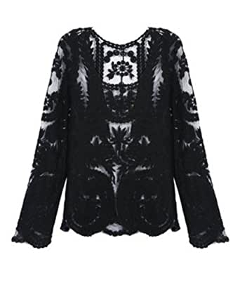 Women Solid Embroidered Floral Lace Crochet Transparent Top Shirt (US10 (Bust 41''), Black)