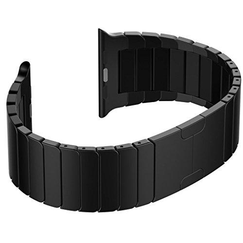Ontube Pour Apple Watch Band, Series 1 Series 2 en acier inoxydable un Replacement de bracelet à maillons avec Fermoir déployante pour iWatch 42mm NOIR (Non Fit iWatch 38mm)
