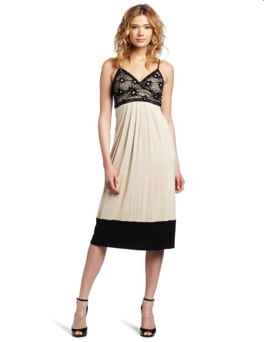 Wrapper Juniors Maxi Spaghetti Strap Knit Dress With Crochet Over Bodice Detail, Taupe, X-Small