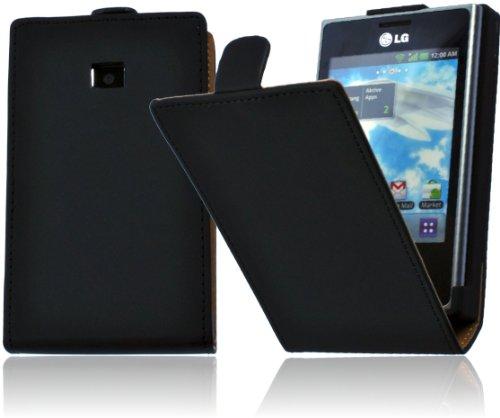 Premium Flip Style Handytasche für LG E400 Optimus L3 Flip Case Handy Funktionstasche Etui Schutzhülle Cover Wallet Case mit Displayschutz - Ultra Dünn - bi-color - schwarz / black