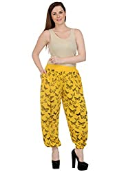 NumBrave Printed Viscose Yellow Black Harem Pants