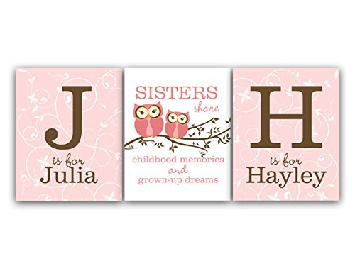 Unframed Prints (Choose Your Sizes) - Set Of 3 Personalized Owl Nursery Wall Art For Sisters And Twins - Kids110