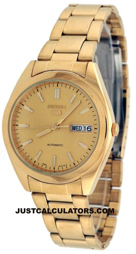 Seiko 5 Men's Gold Tone Automatic Self-winding Watch Model SNX998K