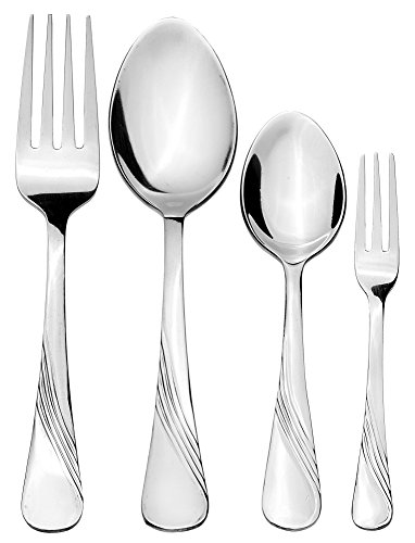 Solimo 24 Piece Stainless Steel Cutlery Set, Waves (Contains: 6 Table Spoons, 6 Tea Spoons, 6 Forks, 6 Fruit Forks)