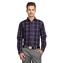 British Line Navy color Checked Slim Fit shirt