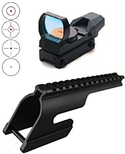 Ultimate Arms Gear Hard Anodized Machined Lightweight Aluminum No Gunsmithing Remington 870 12 Gauge Shotgun & Compatible See Through Saddle Scope Sight Weaver Picatinny Rail Mount + Tactical 4 Reticle Red Dot Open Reflex Sight with Weaver-Picatinny Rail Mount