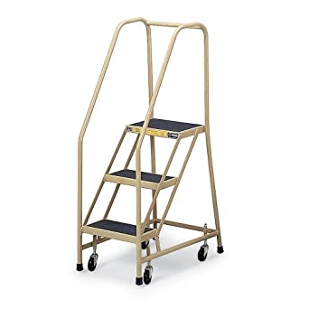 Gillis Rubber-Tread Office Ladder - Three Steps - Almond