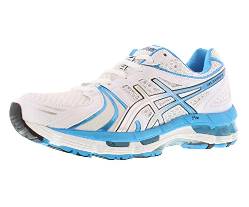 Asics Women'S Gel Kayano 18 Running Shoe,White/Island Blue/Black,12 M Us
