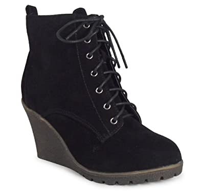 womens black suede ankle lace up work casual low