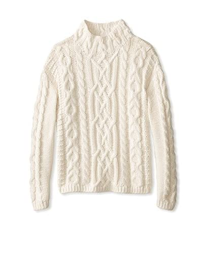525 America Women's Cable Mock Neck Sweater