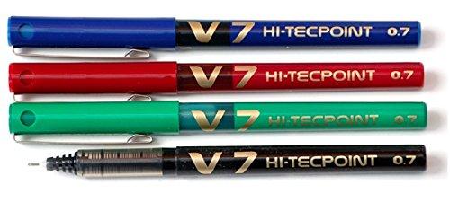 pilot-v7-hi-tecpoint-juego-de-boligrafos-roller-4-unidades-1-negro-1-azul-1-rojo-y-1-verde