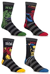 SockShop Men\'s 4 Pair Marvel Comics Mix Hulk, Spider-Man, Ironman & Wolverine Socks 7-12 Assorted