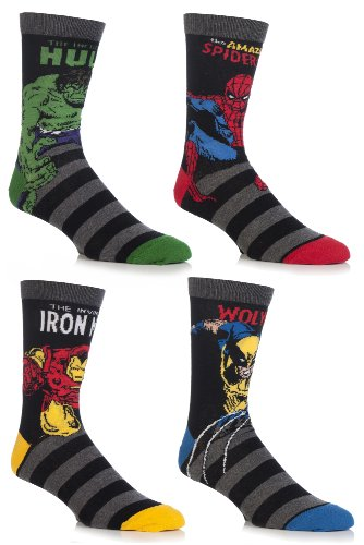 sockshop-mens-4-pair-marvel-comics-mix-hulk-spider-man-ironman-wolverine-socks-7-12-assorted