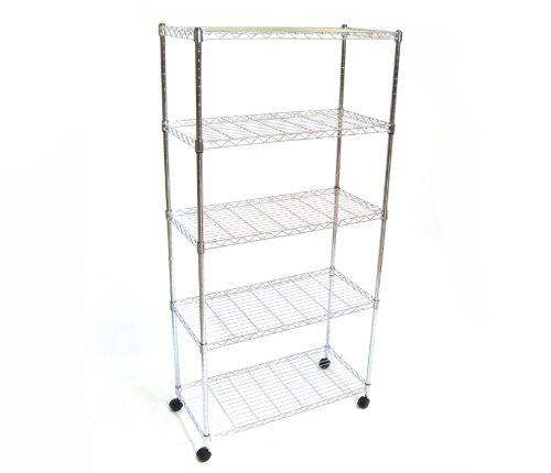 Seville Classics SHE14305 Home Style Mobile 5-Shelf Storage System, Chrome